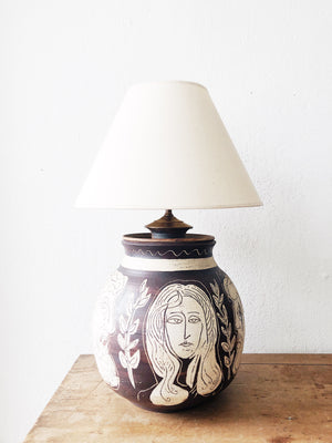 Vintage Handmade Ceramic Face Lamp