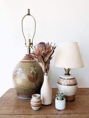 Large Vintage Ceramic Floral Lamp