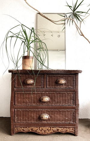 Vintage Wood Framed Chest of Drawers