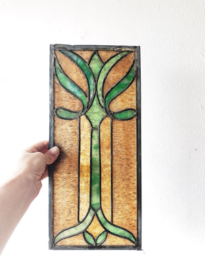 Antique Art Nouveau Stained Glass Panel