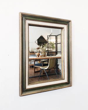 Vintage Wood and Linen Framed Mirror