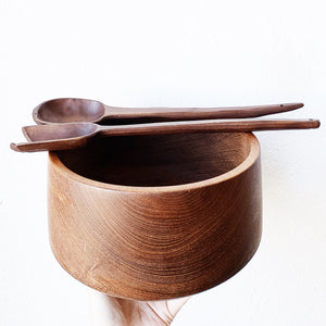 Mid Century Teak Salad Bowl with Servers