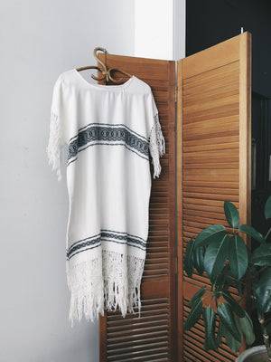 Airy Woven Poncho Shift Dress