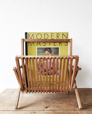 RESERVED Vintage Folding Wood Record Rack