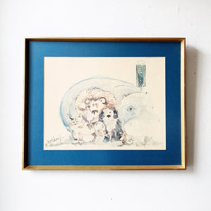 Vintage Framed Watercolor 'Animal Bus Stop'