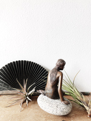 Vintage Danish Bronze Mermaid Sculpture