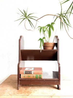 Vintage Solid Wood Small Book Shelf