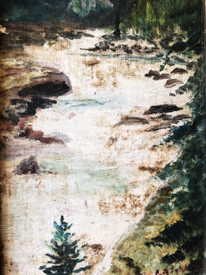 Antique Oil Landscape on Board