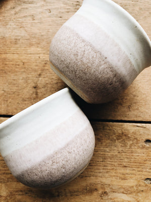 Pair of Pink Ombré Pottery Cups