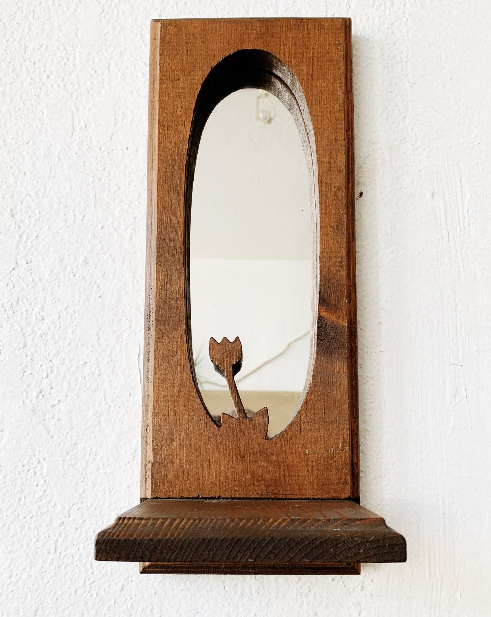 Vintage Wood Mirrored Shelf