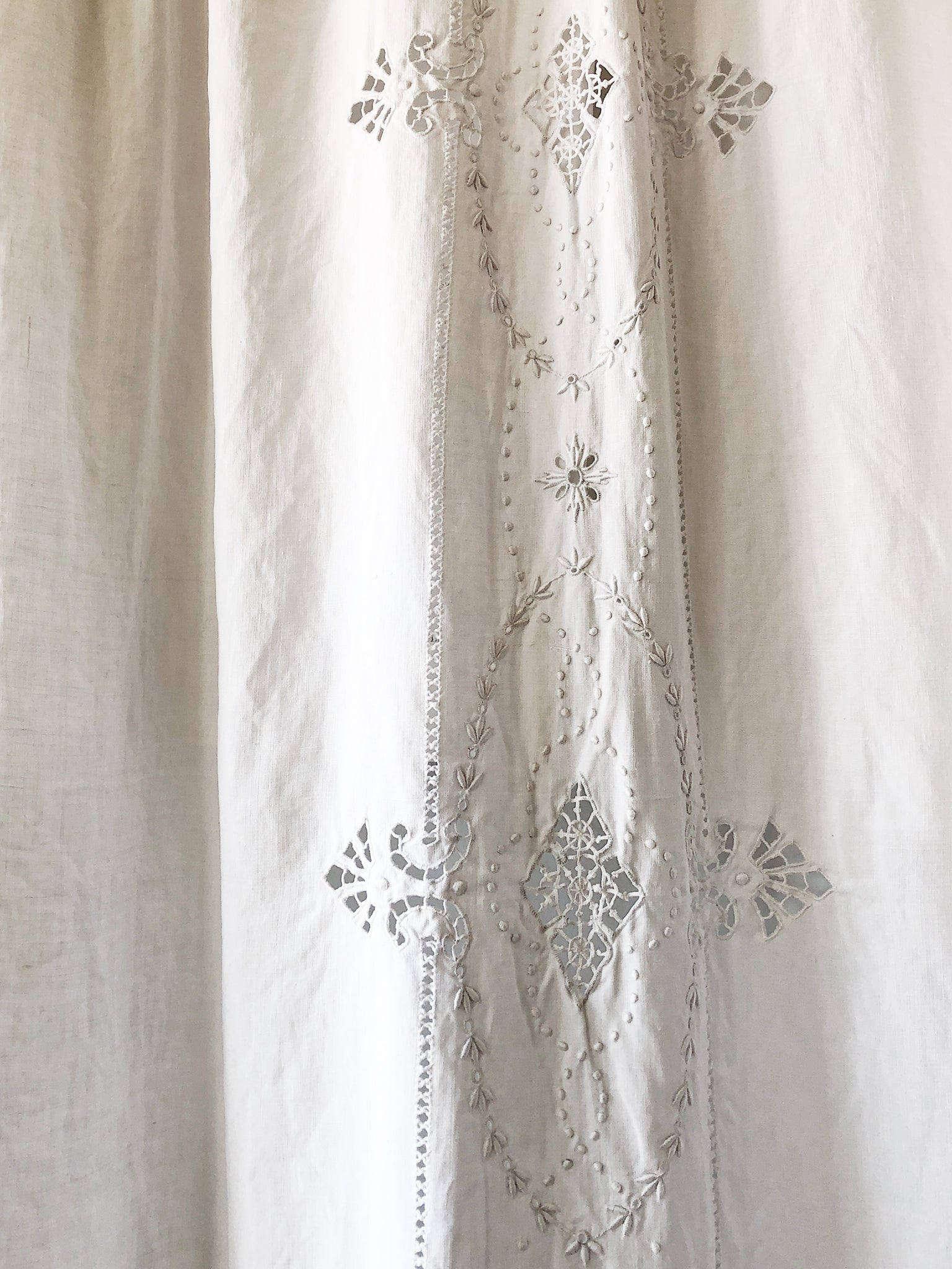 Antique Linen Embroidered Coverlet