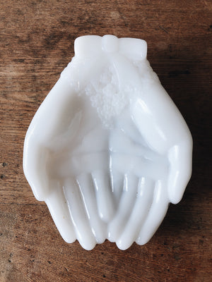 Vintage Milk Glass Hands Dish