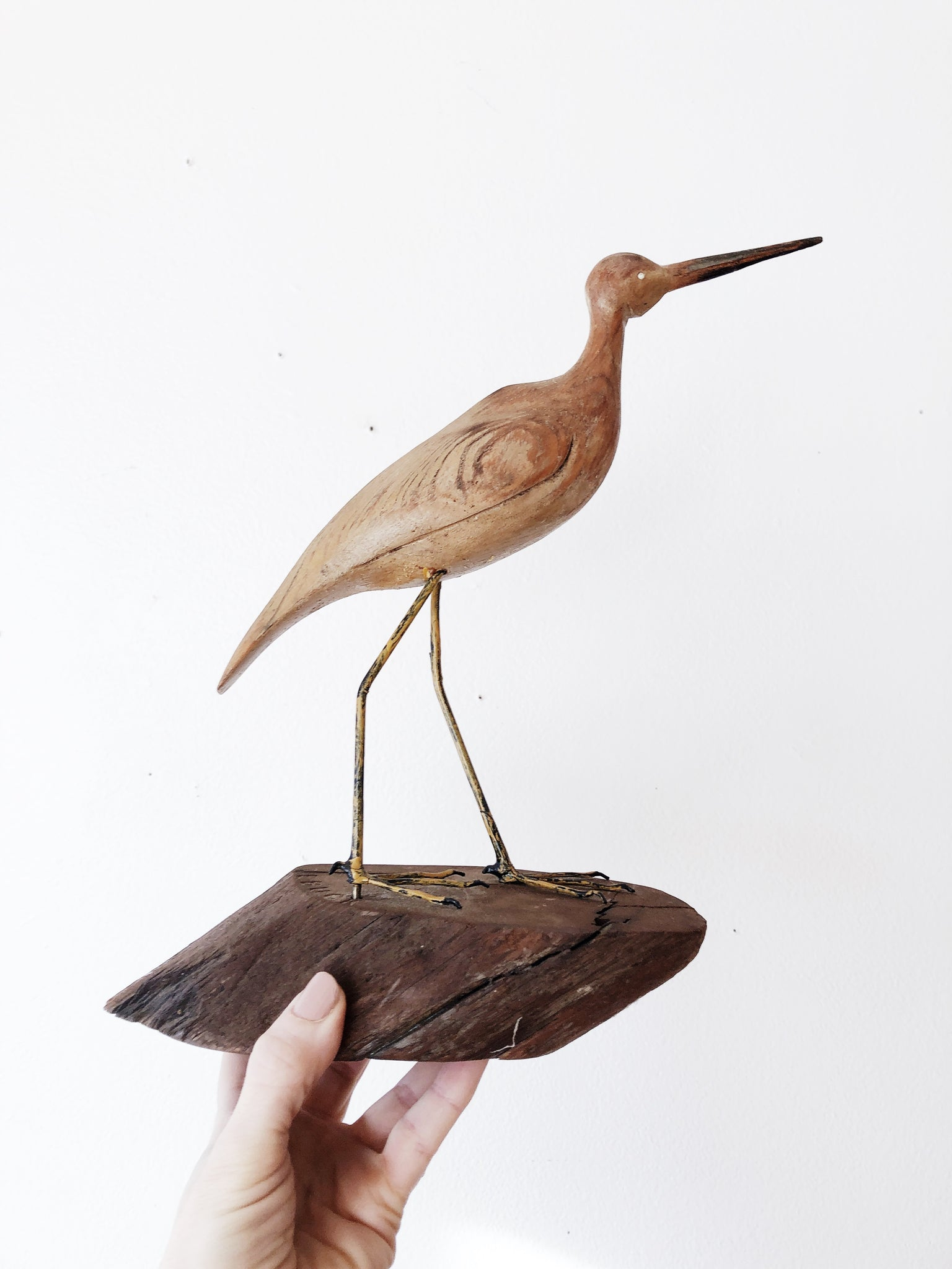 Carved Vintage Wood Egret