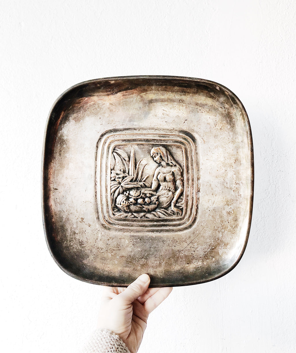 Vintage Silverplated Figural Tray