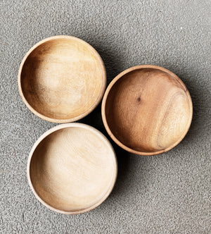 Vintage Snack Sized Wood Bowl Trio