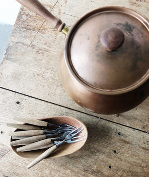 Mid Century Copper Fondue Pot and Forks