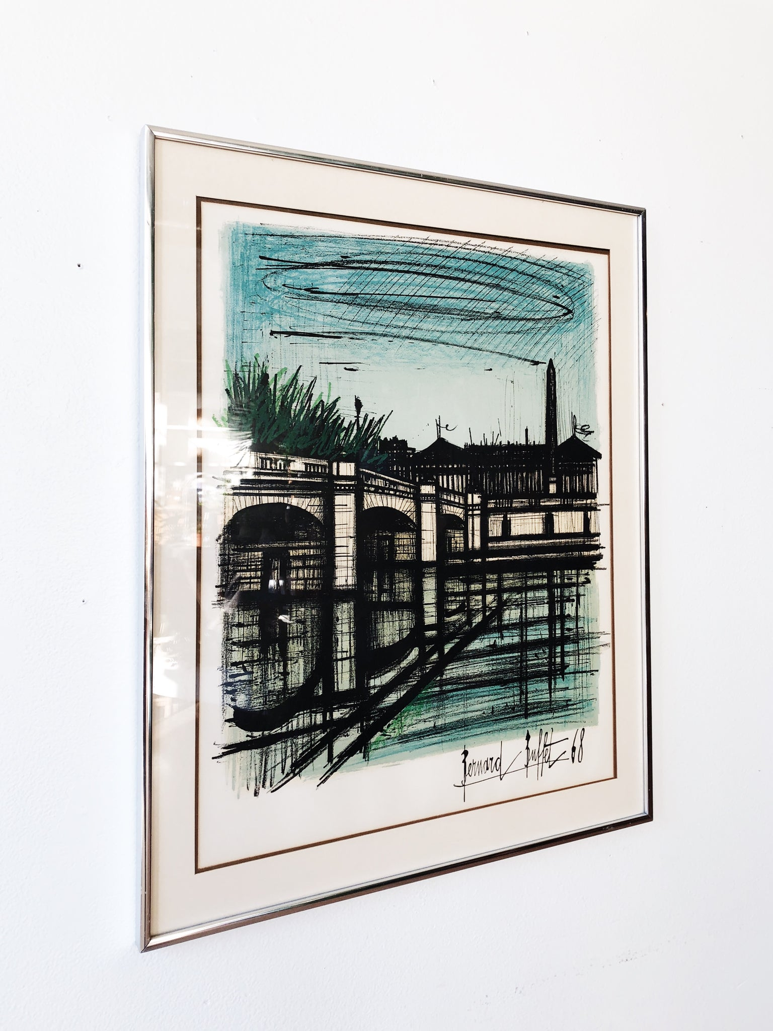Vintage Bernard Buffet Signed Watercolor Litho