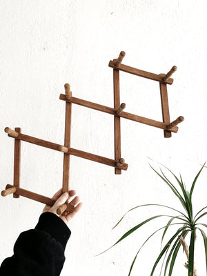 Vintage Wood Expanding Peg Rack