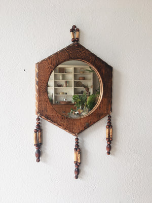 Vintage Wood Beaded Mirror