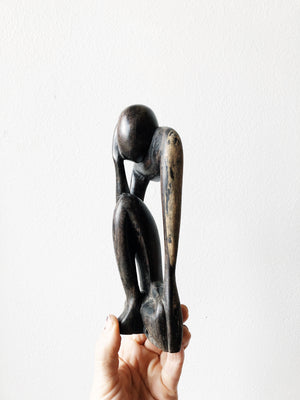Vintage Wood Thinker Sculpture