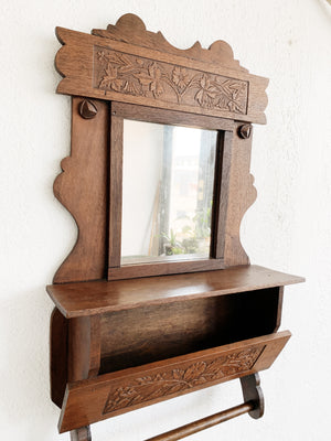 Antique Decorative Mirror with Shelf and Dowel