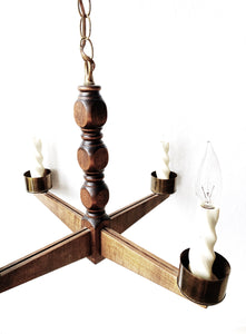 Vintage Wood and Brass Chandelier