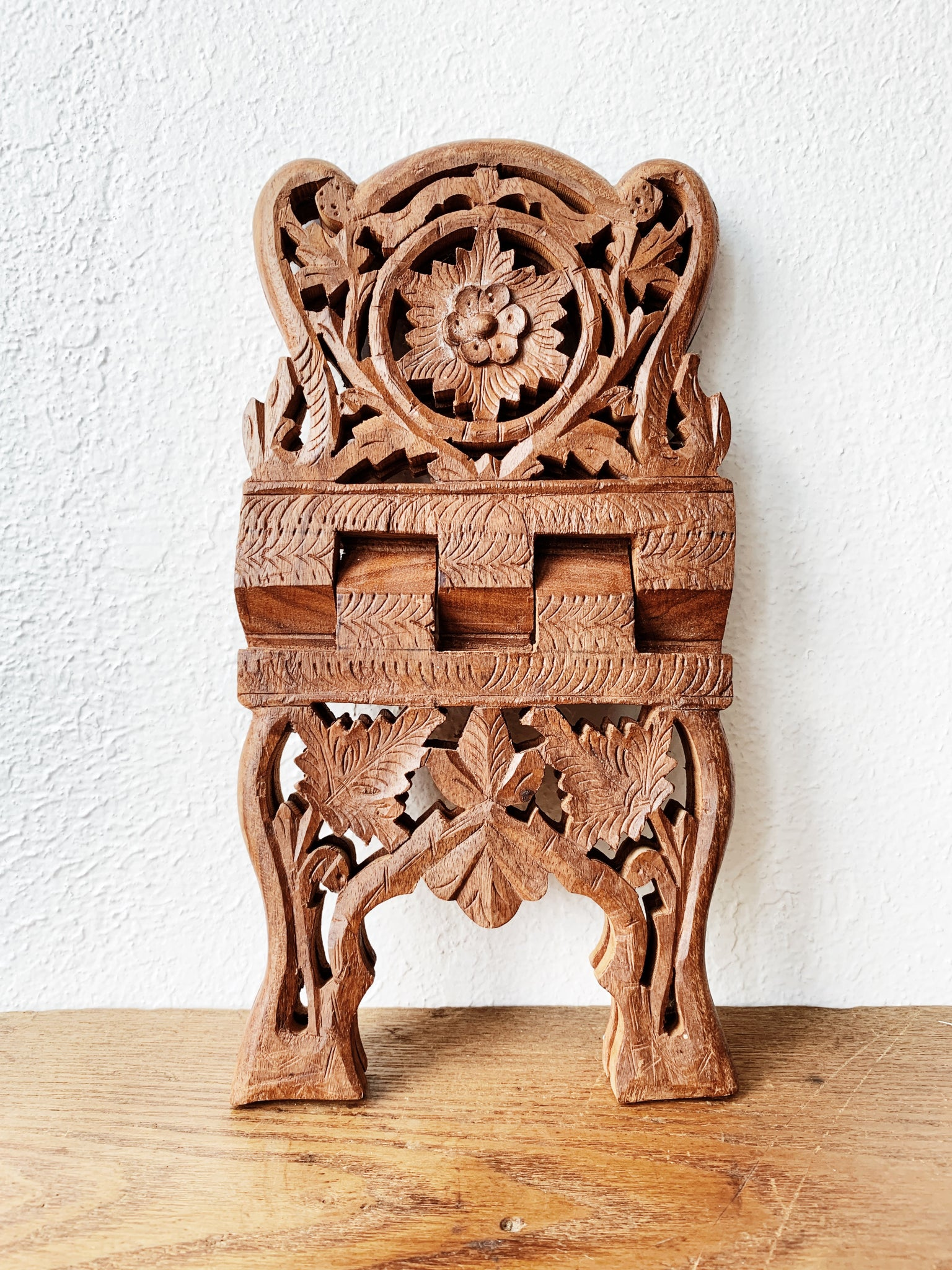 Vintage Cutout Wood Folding Book Stand