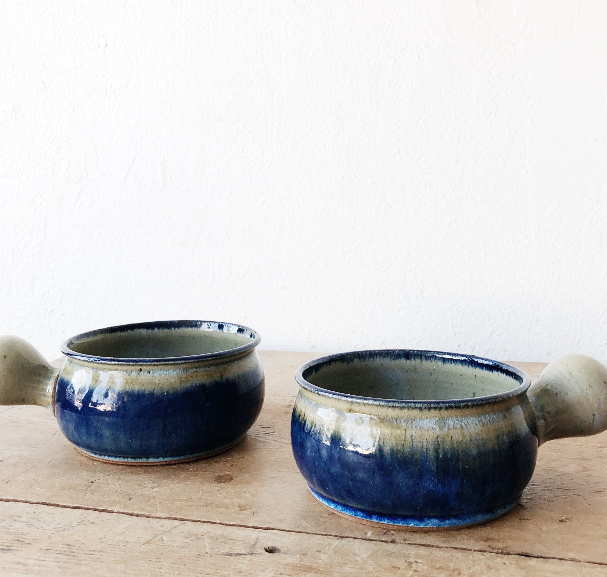 Vintage Pair of Indigo Soup Crocks