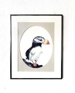 Original Framed Puffin Watercolor Painting