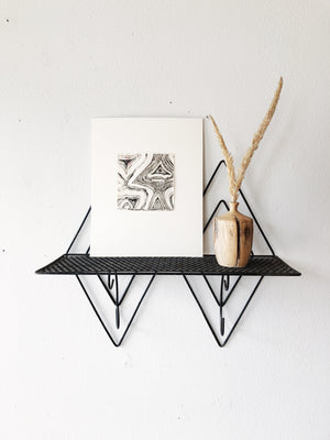 Mid Century Wire Shelf with Hooks