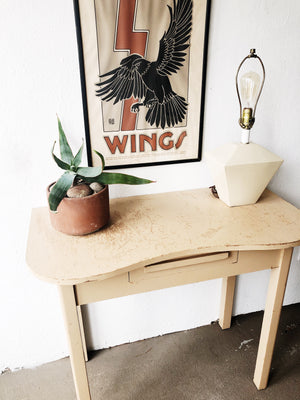 Vintage 1940s Ochre Painted Desk