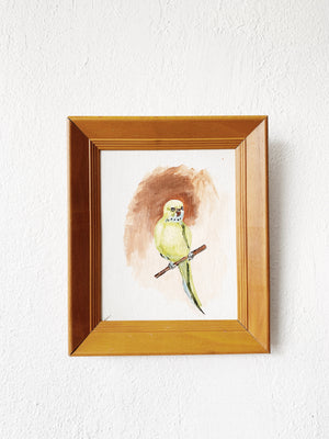 Vintage Framed Bird Painting