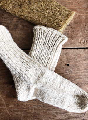 Vintage Children's Hand Knit Wool Socks