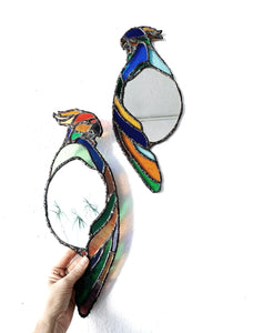 Leaded Stained Glass Parrot Mirror