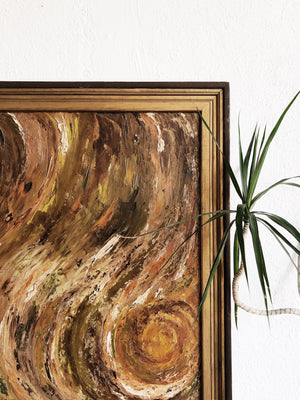 Large Vintage Swirled Abstract Oil Painting
