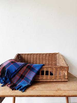 Wicker Animal Bed with Plaid Wool Blanket