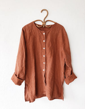 Vintage Terracotta Linen Work Shirt
