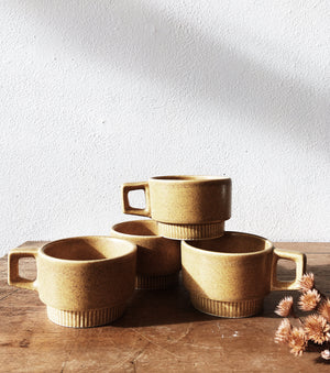 Vintage Stacking Ceramic Mugs