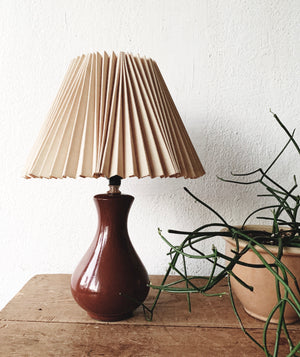 Vintage Ceramic Lamp with Pleated Shade