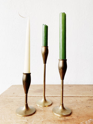 Vintage Aged Brass Candle Holder Trio
