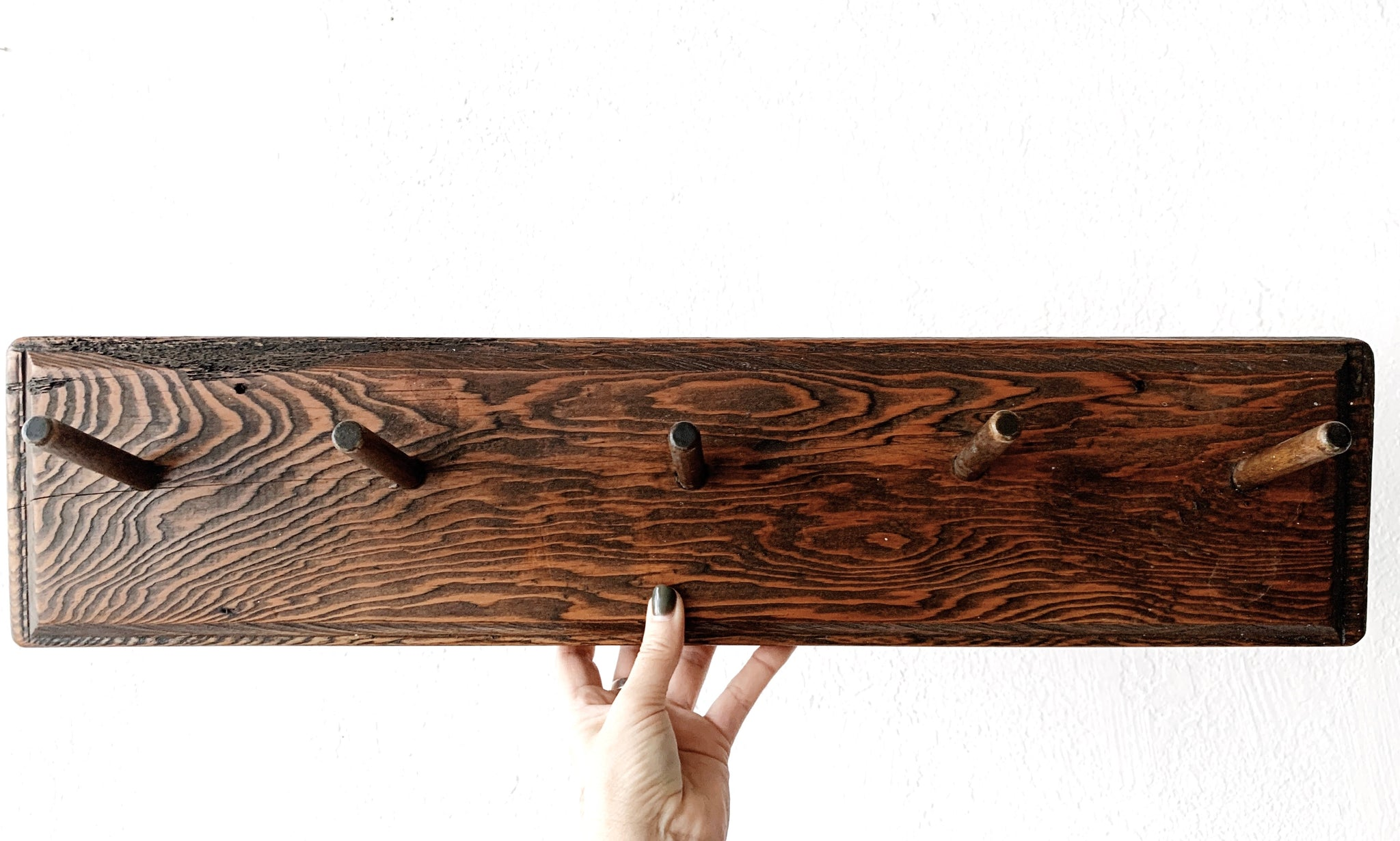 Antique Handmade Wood Peg Rack