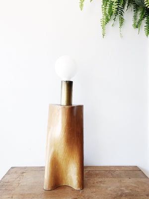 Vintage 1970s Biomorphic Wood Lamp