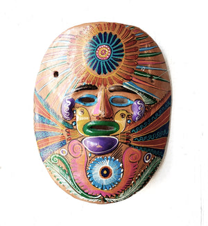 Vintage Hand Painted Folk Mexican Clay Mask