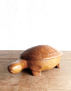 Vintage Carved Wood Turtle Stash Box