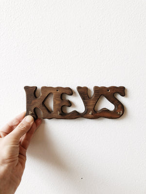 Vintage Wooden Key Hook