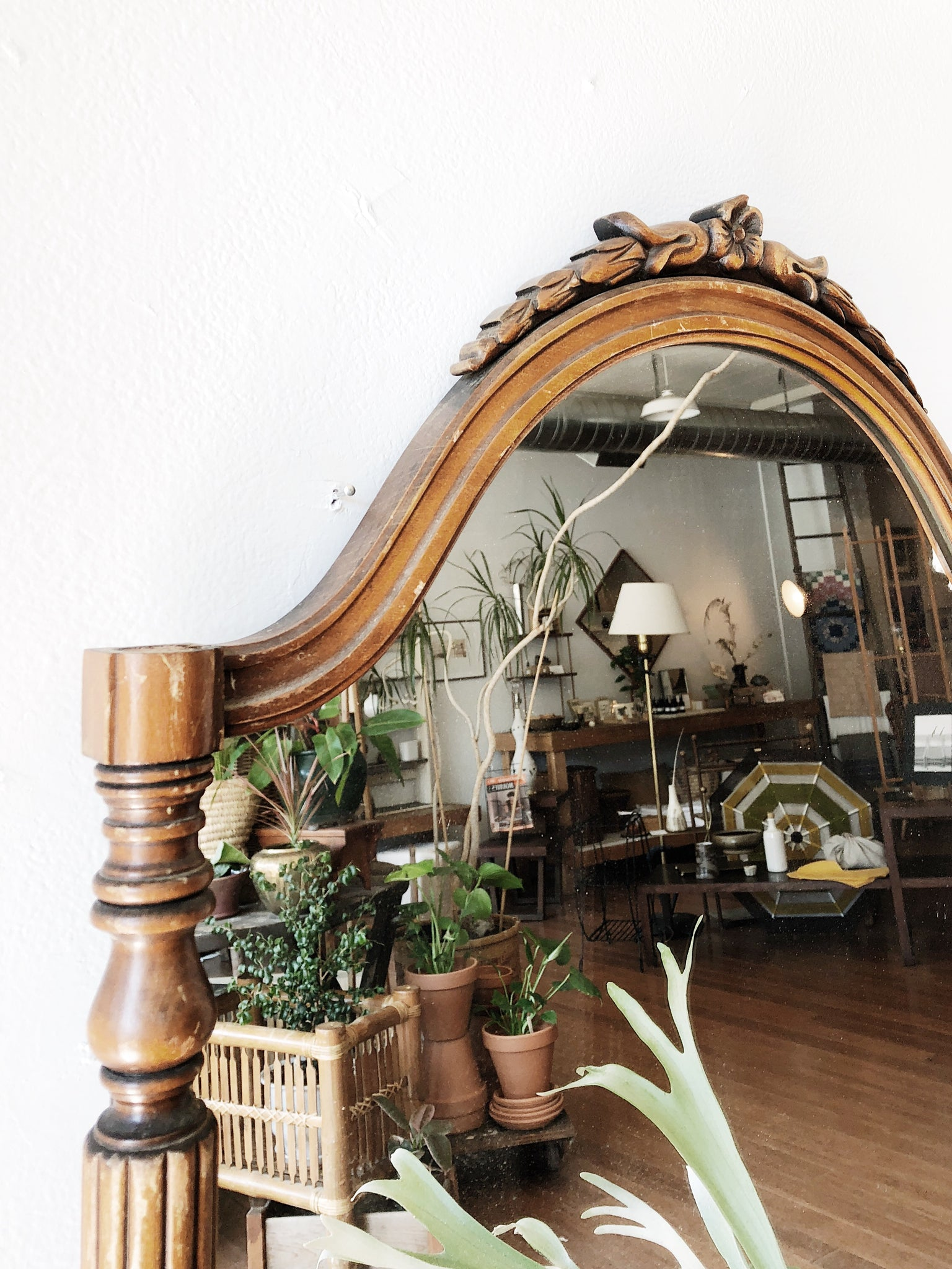 Vintage Arched Wood Mirror