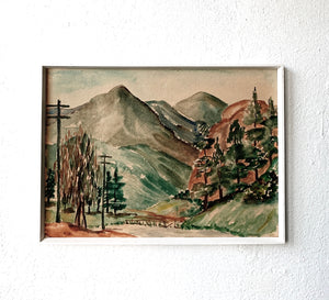Vintage Framed Watercolor Landscape