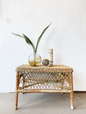 Petite Vintage Wicker Table