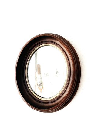 Vintage Chunky Wood Framed Oval Mirror