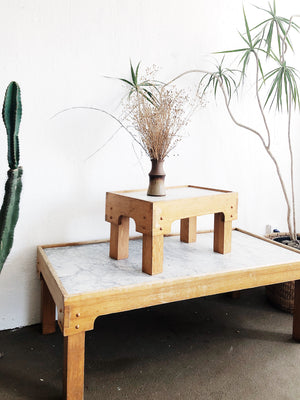 Vintage Marble and Wood Tables